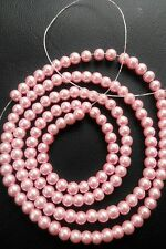 1 Strand Round Faux PEARL GLASS Beads ~ 5mm ~ Pink ~ 150 beads -81cm Long