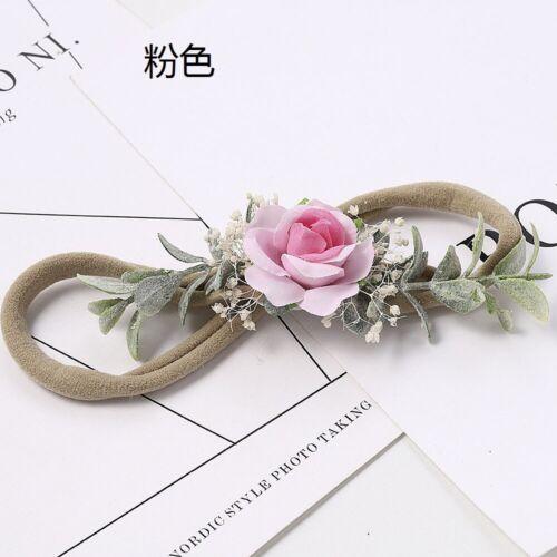 Newborn Baby Girls Elastic Flower Headband Wedding Photography Headband NEW