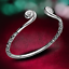 Fashion-Women-925-Sterling-Silver-Hoop-Sculpture-Cuff-Bangle-Bracelet-Jewelry-UK thumbnail 1
