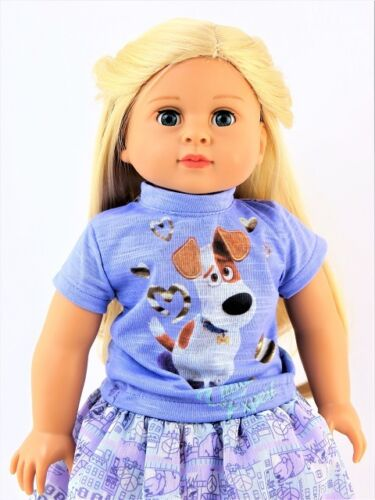 """Purple Life of Pets Inspired Skirt Set Fits 18/"""" American Girl Doll Clothes"""