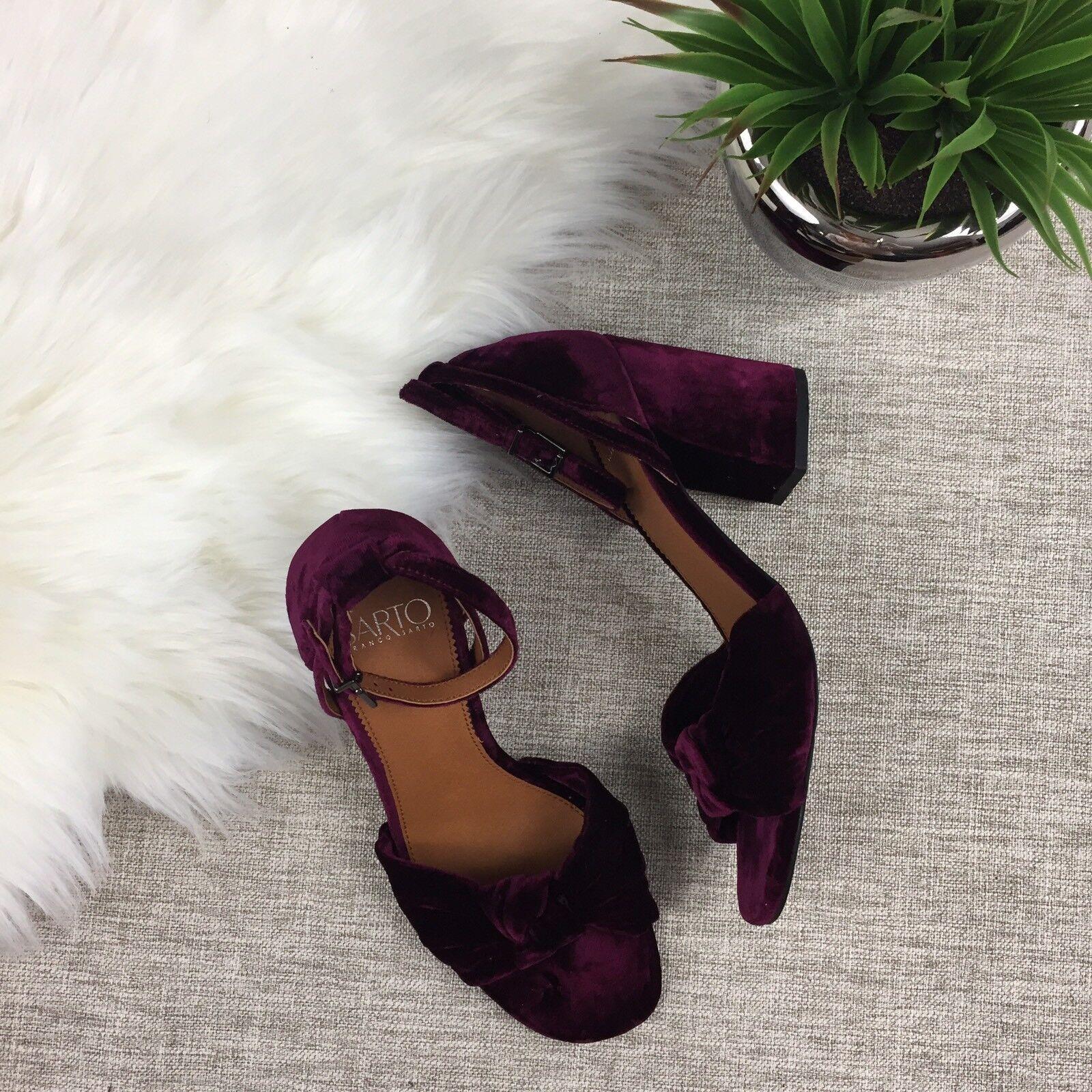 NWT Franco Sarto Edana Heeled Sandale, Ankle Strap, Velvet, Bow, Sz 8, Burgundy