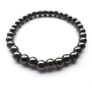 Black-Magnetic-Round-Bead-Hematite-Bracelet-Pain-Relief-Therapy-Arthritis