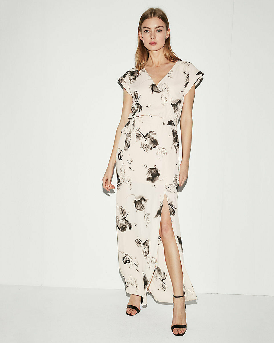 NEW EXPRESS FLORAL ROLLED SLEEVE SURPLICE MAXI DRESS SZ L LARGE