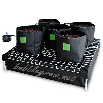 COMPLETE 5 x 19L BAG HYDROPONIC SYSTEM WATERING GROWING KIT WITH WATER PUMP