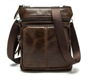 Image is loading Leather-Bag-Male-Small-Shoulder-Crossbody-Handbags-Casual- 41973c9ea1b03