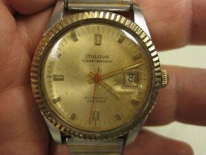 Vintage-Bulova-Oceanographer-Automatic-10k-Solid-Gold-Bezel-Watch-B8982