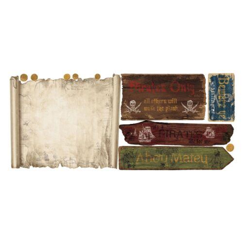 Pirate Treasure Map Pirates Peel /& Stick Dry Erase Board Wall Stickers RMK1883GM
