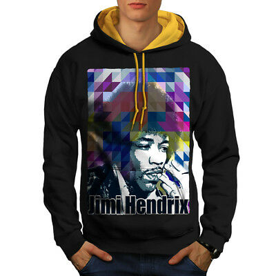 Wellcoda Famous Guitarist Mens Contrast Hoodie, Music Casual Jumper