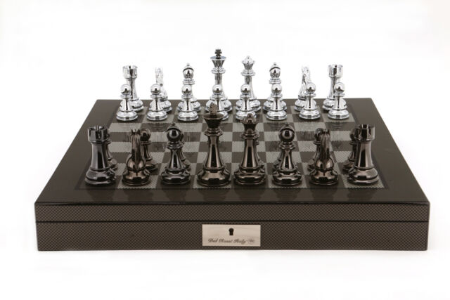 Dal Rossi Italy Silver/Titanium Chess Set on Carbon Fibre - OUT OF STOCK