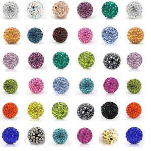 20PCS-Czech-Crystal-Rhinestones-Pave-Clay-Round-Disco-Ball-Spacer-Beads-8mm-10mm