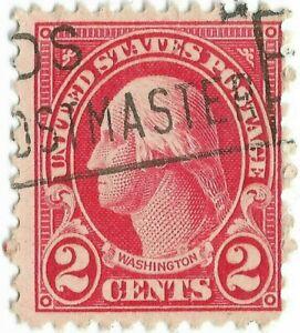 634-Washington-Stamp-2-Cent-POSTMASTER-Slogan-Cancel-11x10-5-XF
