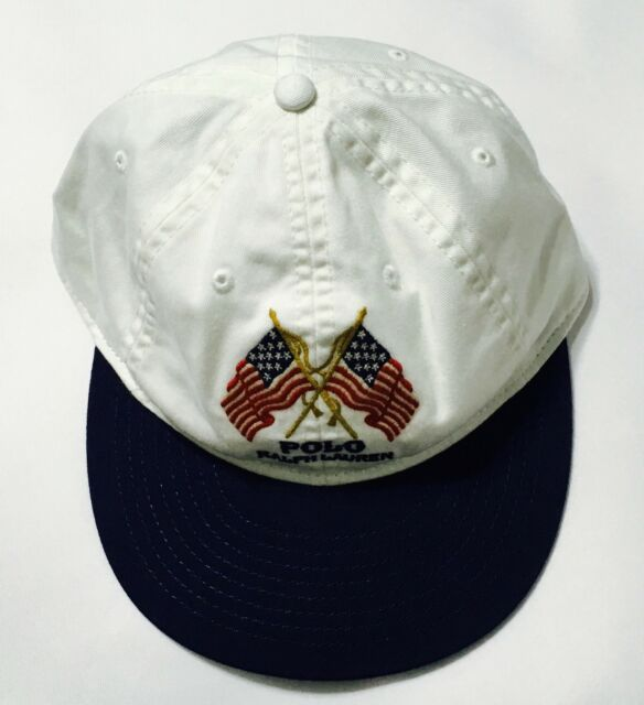 POLO RALPH LAUREN Men s USA Flag Hat Sport Baseball Cap Leather strap  White Navy 0e72fee7e0c