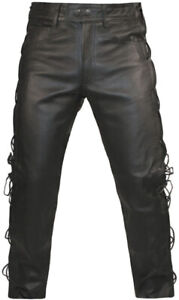Mens-LEATHER-MOTORCYCLE-TROUSERS-Classic-Cowhide-Black-BIKER-JEANS-Laces