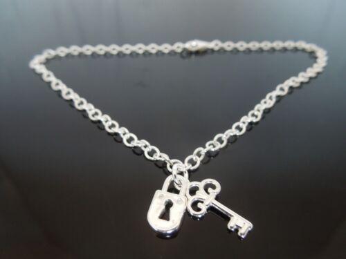 "3mm Sterling Silver Bracelet Or Ankle Chain Anklet Lock /& Key Charm 7/"" 8/"" 9/"" 10/"""