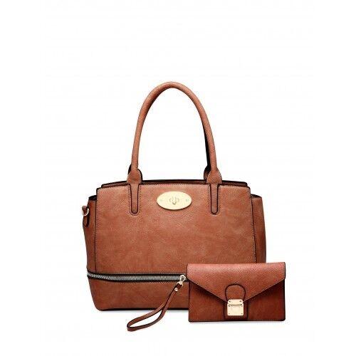 Ladies Stylish Fx Leather Zip Bag and Purse Shoulder Bag Bucket Handbag MA36177