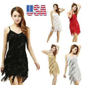 US-Womens-Sexy-Gold-Vintage-V-Neck-Great-Gatsby-Sequin-Sleeveless-Party-Dress