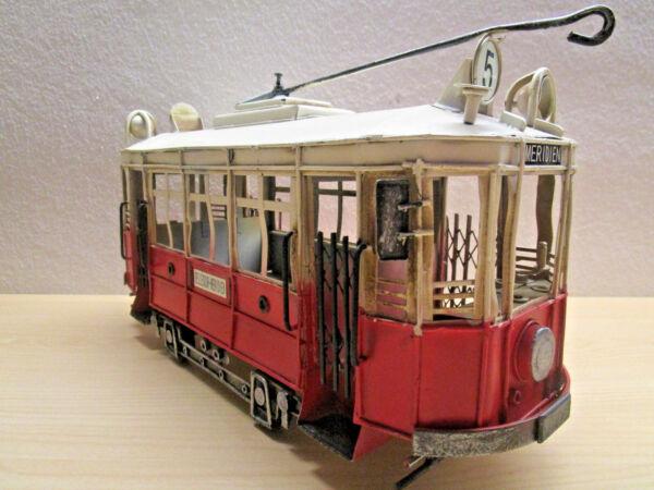Ausdrucksvoll Großes Straßenbahn Blech Straba Modell Bahn Tram Zug Massiv Metall Deko Geschenk