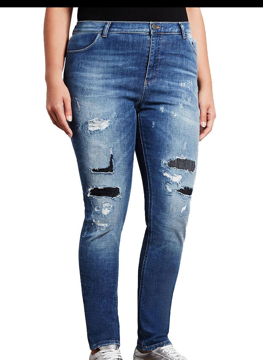 MARINA RINALDI Women's Med Wash Ibisco Distressed Jeans  NWT