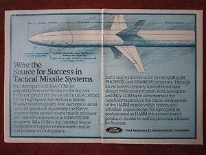 10-1982 PUB FORD AEROSPACE HARM HIGH SPEED ANTI RADIATION MISSILE ORIGINAL AD rHv3O2CE-09110846-398384319