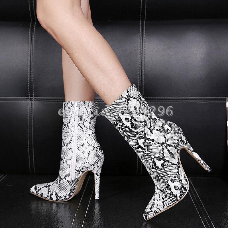 Sexy Stiletto Pumps Damenstiefel Kurzer Ankle Stiefel Schlangenleder Stiefel NEUE  | Sale Outlet