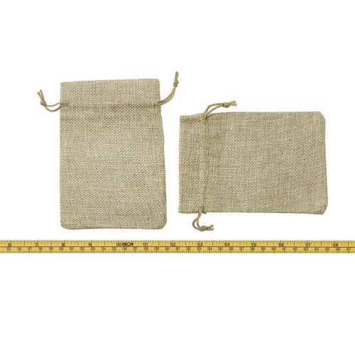 50 x BurlyWood Burlap Packing Pouches Drawstring Cloth Bags Gift Bags 13.5x9.5cm