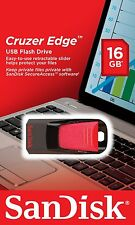 New Sandisk CRUZER Edge 16GB USB 2.0 Flash Pen Drive 16 GB SDCZ51 Retail 16 G