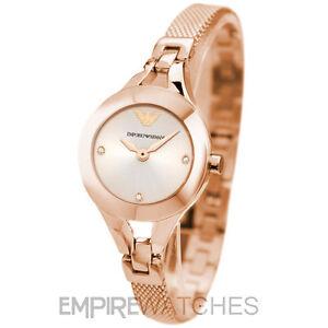 NEW  LADIES EMPORIO ARMANI ROSE GOLD CHIARA MESH WATCH - AR7362 ... f06d4d6e116f
