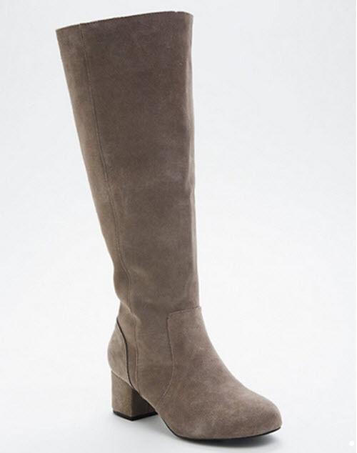 aa9e8139b21 Torrid Wide Width Wide Calf Genuine Suede Gray Mini Block Heel BOOTS 11.5