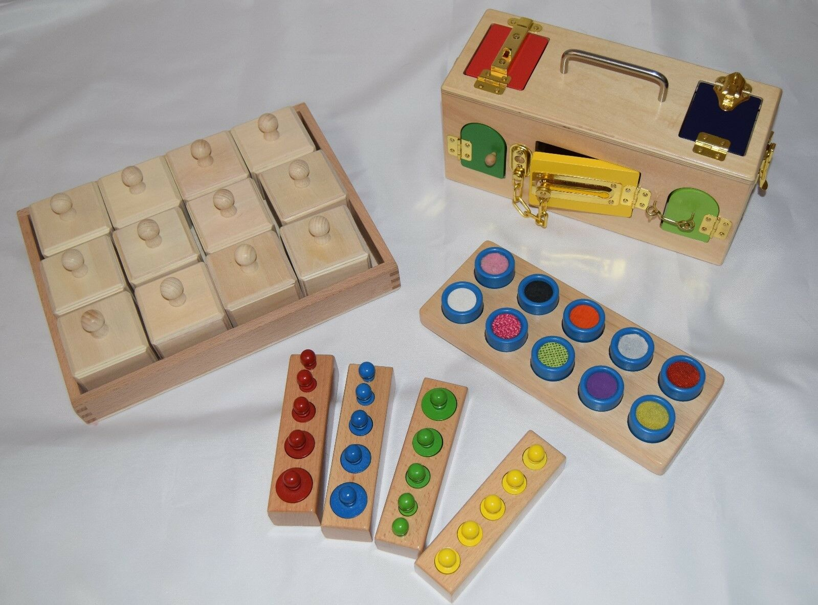 Wooden montessori, sensory toys, lock box, knobbed cylinders, touch board, sound