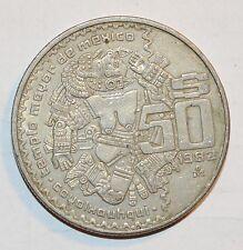 1982 50 PESOS $50 Mexico Mayan culture large coin snake NICE GRADE