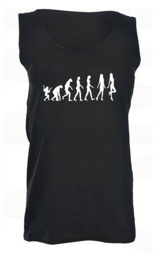 Womans Evolution T-Shirts /& Vest Tops Joke Pink Black White Funny Christmas Gift