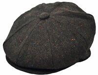 Mens Premium Wool Applejack Newsboy 8 Panel Hat Snap Brim Cap Xlarge, Dark Brown