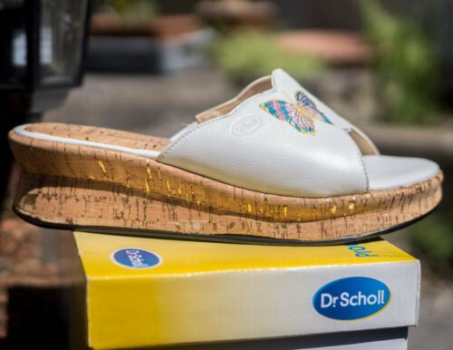 Scholl white leather embroidered butterfly mule with cork wedge sole