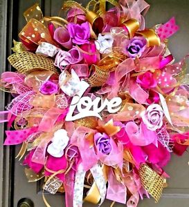 Handmade-Floral-Deco-Mesh-Mother-039-s-Day-Gift-Wreath-w-LOVE-Sign-amp-Roses-24-034