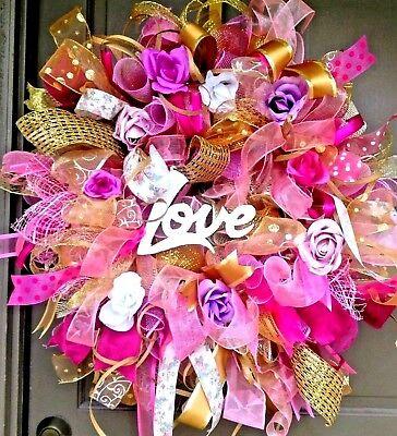 "Handmade 24/"" Spring Summer Deco Mesh Rose Wreath Blue Pink Purple Door Decor"