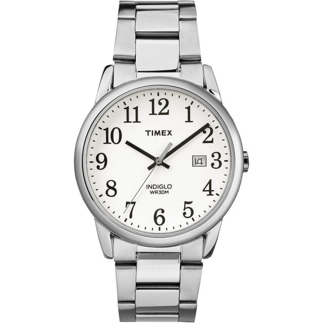Timex Tw2r23300 Men S Silvertone Bracelet Watch Easy Reader Indiglo