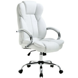 Astounding Details About White High Back Pu Leather Executive Office Desk Computer Chair W Metal Base O18 Pdpeps Interior Chair Design Pdpepsorg