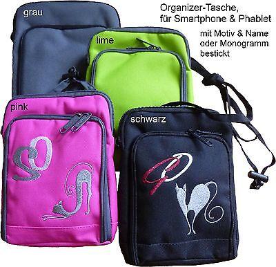 Organizer-Tasche für Smartphone & Phablet mit Motiv & Name od.Monogramm bestickt