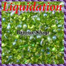100  Perles de bohème goutte 9 x 6mm coloris Olive ab( Liquidation )