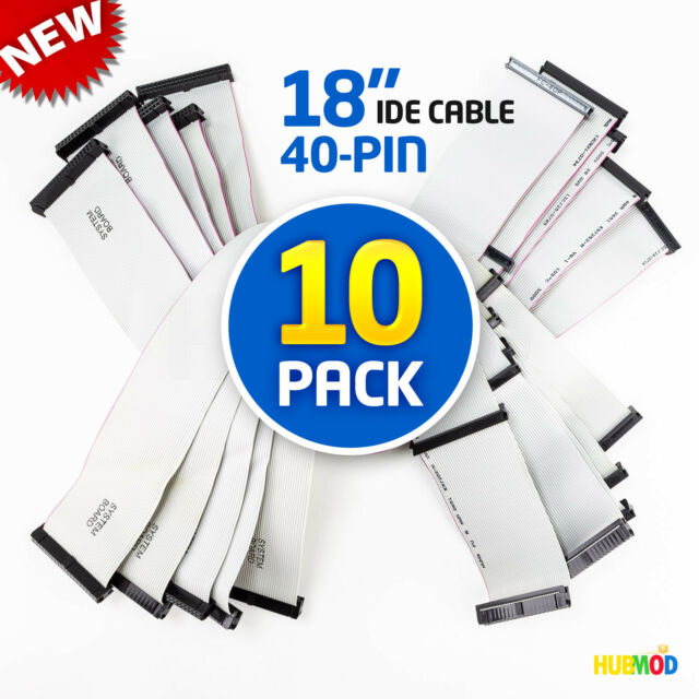 """3 female connector 40 pin 18"""" IDE drive flat ribbon cable"""