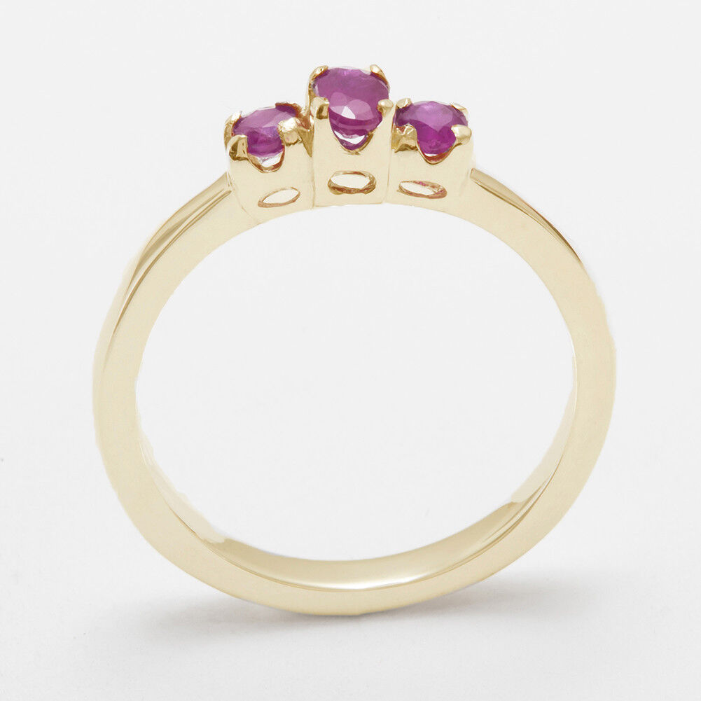 14ct Yellow gold Natural Ruby Womens Trilogy Ring - Sizes J to Z