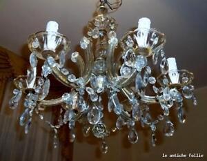 Lampadario Cristallo Maria Teresa.Antico Lampadario Maria Teresa In Cristallo 6 Luci Perfetto Ebay