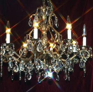 8lt vintage bronze brass pineapple lamp chandelier crystal prisms image is loading 8lt vintage bronze brass pineapple lamp chandelier crystal aloadofball Choice Image