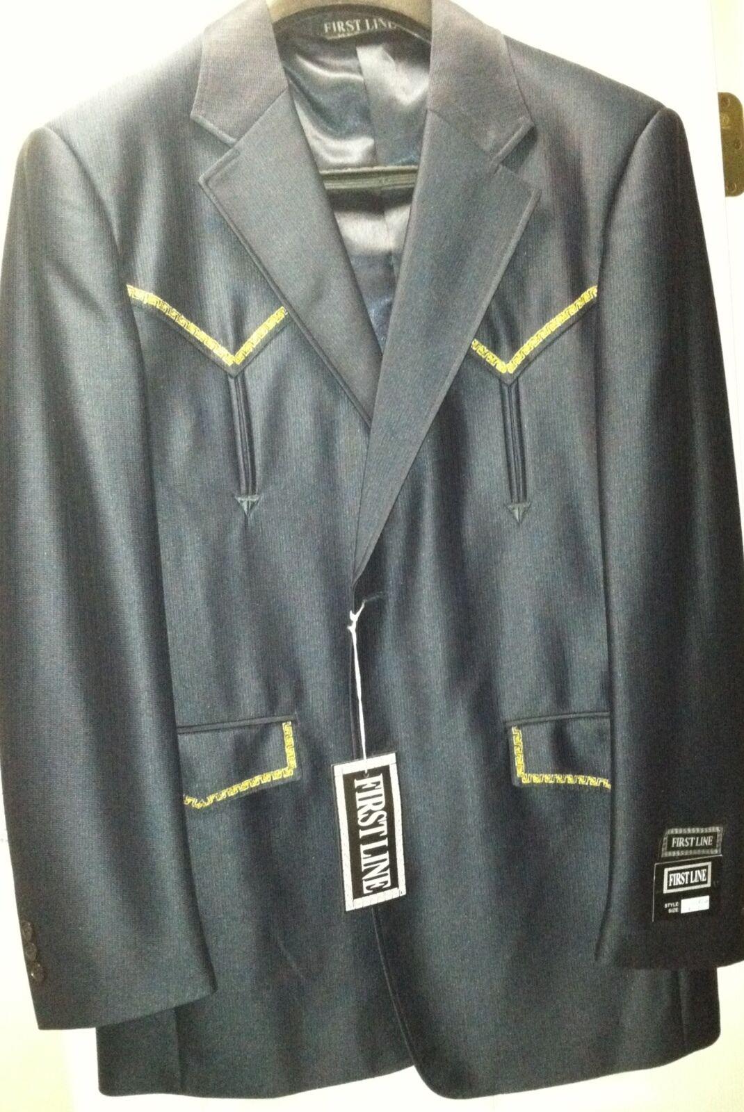 40 30 Mens Western Wear Cowboy Navy Suit