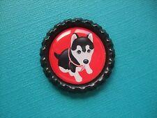 Handmade Husky Puppy Magnet Bottle Cap Dog Fridge Siberian Black White Red
