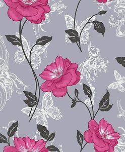 Image Is Loading New Crown Milie Erflies Fl Designer Wallpaper Pink