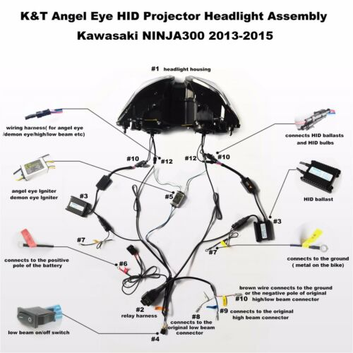 KT LED Headlight for Kawasaki Ninja 250 2013-2017 Ninja 300 2013-2018