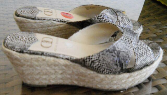 Kelsi Dagger Shoes Snakeskin Rope Wedge Sandals Slip On Bianca 6 Medium