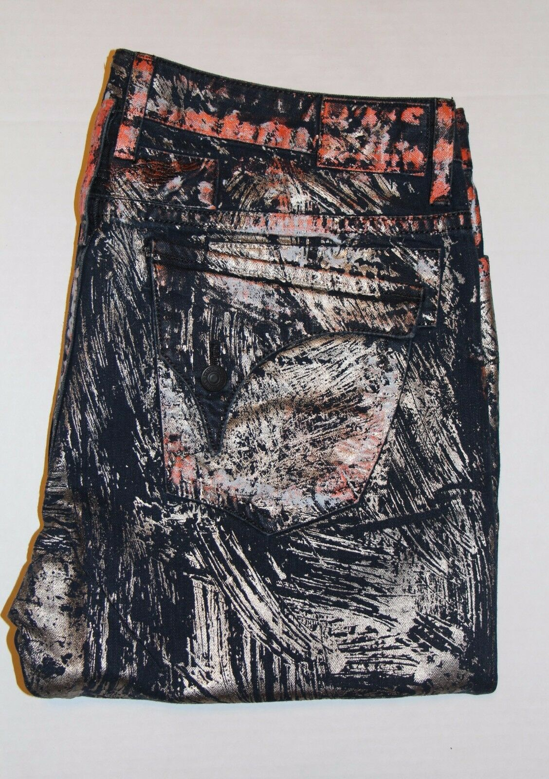 New Men's ROBIN'S JEAN Style  D5696 LONG FLAP Straight Leg Jeans -Metallic