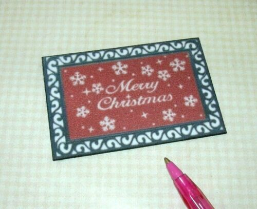 "DOLLHOUSE 1:12 Miniature RED//BLACK /""Merry Christmas/"" Door Mat w//Snowflakes"